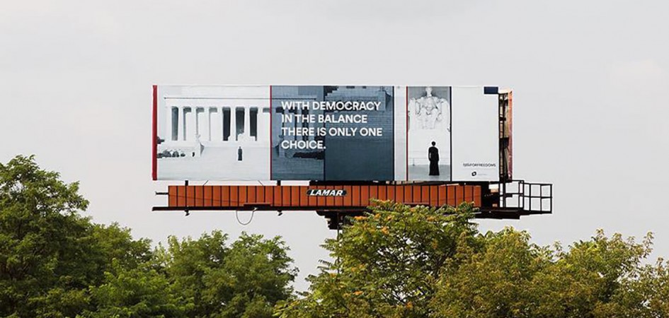 348294ba7 For Freedoms: with 50 billboards across the USA this art initiative  disrupts our world