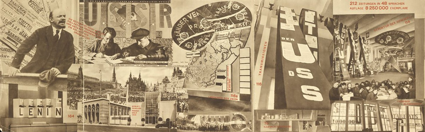 El Lissitzky and Sergei Senkin, The Task of the Press is The Education of the Masses, photomontage from the Union of Soviet Socialist Republics: Catalogue of the Soviet Pavilion at the International  Press Exhibition, Cologne 1928. Purchased 2016. © The
